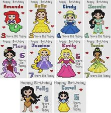 Counted Cross Stitch Personalised Greeting Card Kits - Princesses