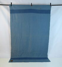 Vtg TRAPPER POINT 3 1/2 Point Indian Chief Head Wool Blue Striped Blanket 82