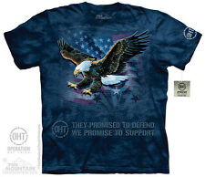 THE MOUNTAIN EAGLE DEFEND USA AMERICA PATRIOTIC ARMY NAVY TROOPS T SHIRT S-5XL