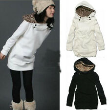 "WOMEN""S AUTUMN HOODY LEOPARD SWEATSHIRT TOP OUTWEAR PARKA COAT 2 Colors NEW"
