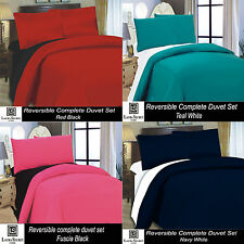 4PCS 2 Tone Reversible Complete Duvet Set Fitted Bed Sheet Single Double King