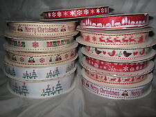 BERTIES BOWS CHRISTMAS RIBBONS -  9mm, 16mm & 25mm  1 or 3m lengths