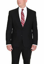 Kenneth Cole New York Slim Fit Black Tonal Striped Two Button Wool Suit