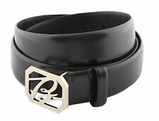 Brioni Men's Brown Calf Leather Belt with Logo Buckle, sizes 85,95,105