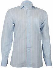 Stefano Ricci Men's Linen & Cotton Sky Blue Couture Shirt, sizes 40, 41, 42, 43