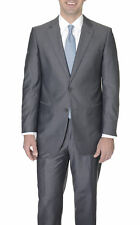 Raphael Charcoal Gray Semi Solid Tic Weave Two Button Suit