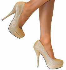 WOMENS GOLD GLITTERY STILETTO HEELS PLATFORM COURT SHOE WEDDING PARTY size 3-8