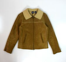 GAP Soft Brown Leather Faux Shearling Sherpa Bomber Zip Jacket Coat Womens Small