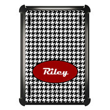 Monogrammed OtterBox Defender for ipad Mini / Air Black White Houndstooth Red