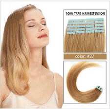 "20 pcs 16""-24"" Pu Hair Remy Human Hair Extension Tape-In Skin Weft #27 Blonde"