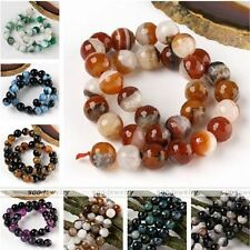 1 Strand Gemstone Agate Faceted Round Ball Loose Bead Jewelry Making DIY 12/14mm