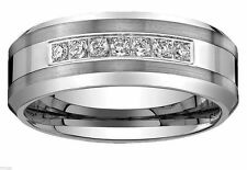 8MM Tungsten Carbide Wedding Band CZ Bridal Men Jewelry Ring Size  8-13