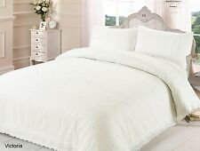 VICTORIA DUVET QUILT COVER LACE BRODERIE EMBROIDERED BEDDING BED LINEN SET CREAM