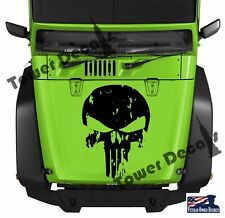 "Distressed Skull Punisher Hood Vinyl Decal 16""-23"" wide Fits Jeep Dodge Chevy"