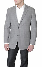 Tasso Elba Classic Fit Gray Glen Plaid Two Button Wool Blazer Sportcoat