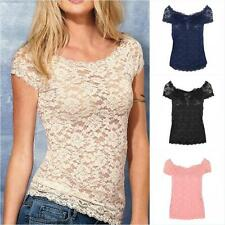New Summer Women Short Sleeve Lace Floral Elegant T-Shirt Casual Blouse Tops