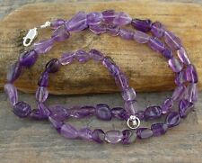 """Amethyst Necklace in Natural Gemstone Nuggets - SS Silver Clasp, 16, 18, 20, 22"""""""