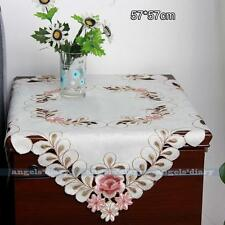 Square Satin Fabric Flora Embroidered Cutwork Tablecloth Table Topper #09 ep