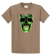 Green Glow Skull Mens Printed Tee Shirt Reg to Big and Tall Size Port and Co