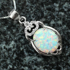 12mm rainbow fire opal pendant real 925 sterling silver necklace box chain 18""