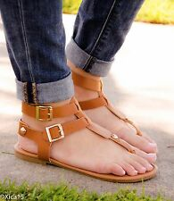 Women's Sandals Gladiator Double Buckle Thong Strap Flat Sandal Shoes New 2016