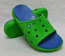 New! Kids' Child Crocs™ FEAT SLIDES Sandals in Lime Green/Sea Blue BEACHY! C50