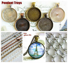 "Blank pendant tray kits 1"" /25.4MM Round with glass cabochons Necklaces 5 colors"
