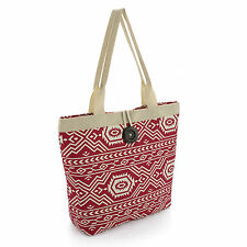 Red and cream colour print bag with button BG30168