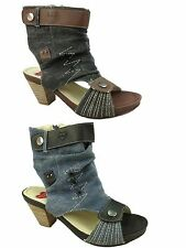 Ladies Fabs Canvas Denim Peep Toe Cut Out Zip Low Block Heel Ankle Boots Size UK