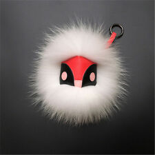 Fluffy Genuine White Fox Fur Monster Bugs Bag Purse Charm Keychain Red Owl Face