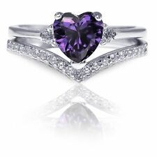 Elegant Amethyst Heart CZ Genuine Sterling Silver Two Ring Chevron Set