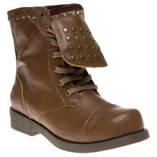 New Womens Rocket Dog Tan Brutus Synthetic Boots Mid-Calf Lace Up