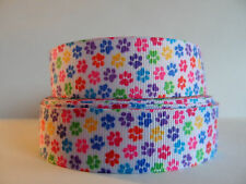 "Grosgrain Ribbon, Tiny Colorful Doggie Paw Prints on White, 7/8"" Wide"