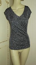 LADIES WOMENS GHOST OF LONDON TOP GREY DITSY SIZE 8