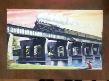 Howard Fogg Print of CNW Railroad over a Bridge with Boy Dated 1982 Frameable