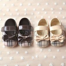 Lovely Plaid Bowknot Soft Sole Infant Toddler Baby Girls Crib Shoes Prewalker
