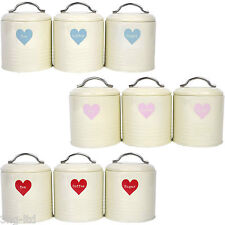 Set of 3 Cream Canisters Storage Jars Tea Coffee Sugar Tins Shabby Chic Heart