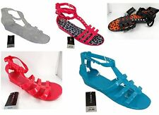 Ladies Womens Jelly Flat Gladiator Ankle Strap Flip Flop Sandals Shoes Strappy