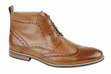 New Brown Mens Bertie Brogue Synthetic Leather Lace Up Dress Formal Ankle Shoes