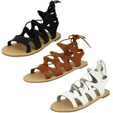 Ladies Spot On Lace Up Gladiator Sandals Label-F0976