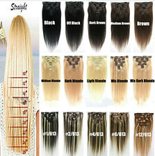 """7/8 PCS 15""""-26"""" Women's Clip In Full Head 100% Real Remy Human Hair Extensions"""