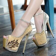 Womens high Heel platform pumps ankle strap stiletto Wedding Party chic Shoes SZ