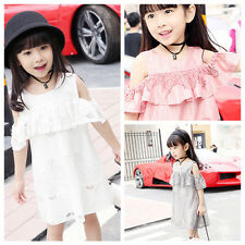 Pretty Girls Kids Off-Shoulder Lace Hollow Out Princess Party Pageant Slim Dress
