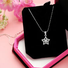 Star pendant CZ genuine 925 sterling silver clear cubic zirconia necklace chain