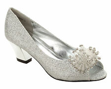WOMENS SILVER GLITTER WEDDING BRIDAL EVENING PARTY COURT SHOES LADIES SIZE 3-8