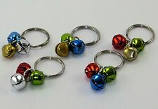 3 Jingle Bells Christmas Dog Collar Charm Red Green Silver Blue Purple Pink