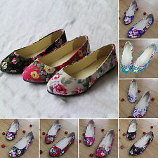 Retro Womens Ballerina Boat Shoes Ballet Dolly Pumps Ladies Floral Flats Loafers