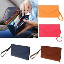 PU Leather Credit ID Card Travel Passport Ticket Holder Strap Wallet Purse