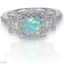 Princess Promise Engagement Turquoise Green Fire Opal CZ Sterling Silver Ring
