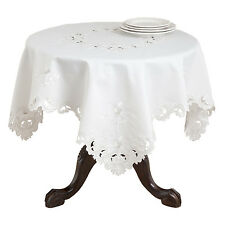 Saro Acacia Rose Embroidered and Cutwork Tablecloth